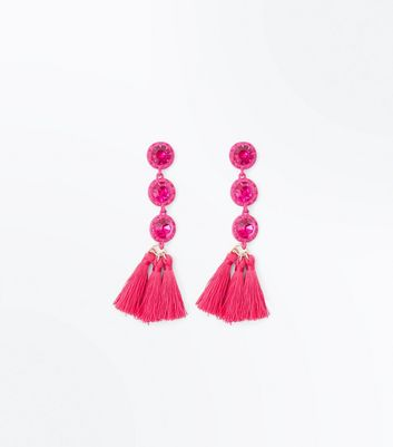 Pink Stone Tassel Drop Earrings