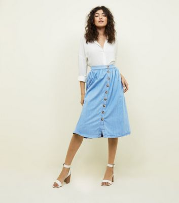 Pale Blue Button Front Denim Midi Skirt