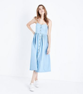 Pale Blue Button Up Denim Midi Dress by New Look