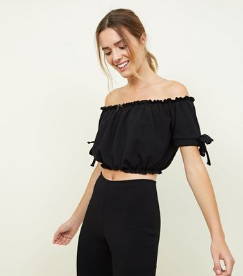 Black Tie Sleeve Gathered Bardot Party Crop Top