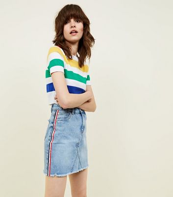 Bright Blue Side Stripe Denim Mini Skirt