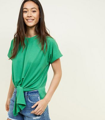Green Ribbed Tie Front T-Shirt