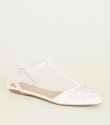 Teens White Laser Cut T-Bar Flats