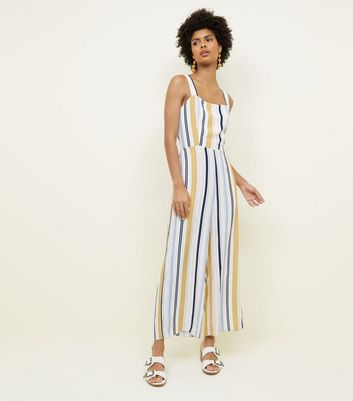 Tall White Stripe Tie Back Jumpsuit