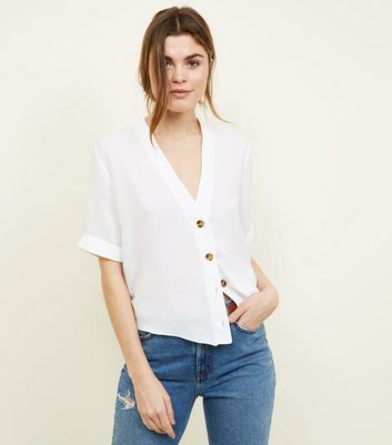 Tall Off White Button Front Boxy Shirt
