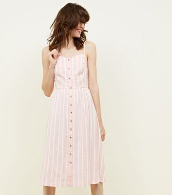 Tall Pink Stripe Button Front Midi Dress