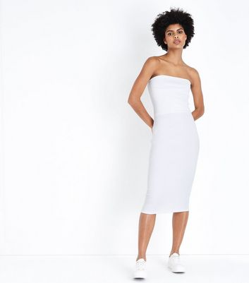 White Jersey Ribbed Bodycon Dress