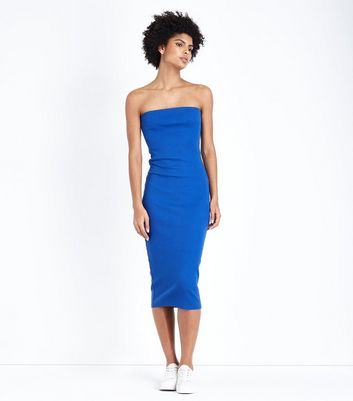 Blue Jersey Ribbed Bodycon Dress