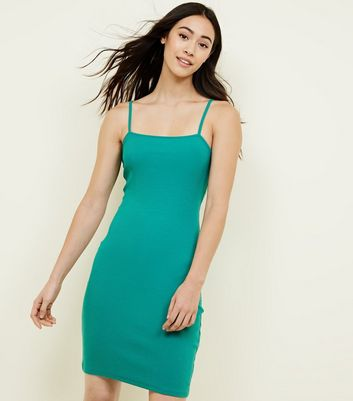 Green Square Neck Mini Dress