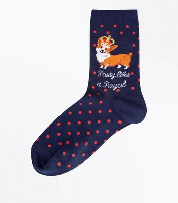 Navy Royal Corgi Slogan Socks