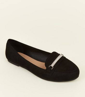 Wide Fit Black Suedette Diamanté Bar Loafers