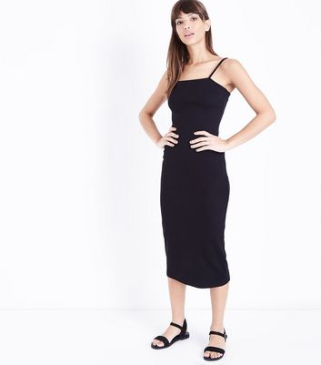 Black Ribbed Strappy Midi Dress by New Look