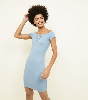 Pale Blue Ruched Bardot Bodycon Dress