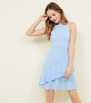 Pale Blue Asymmetric Ruffle Hem Mini Dress by New Look