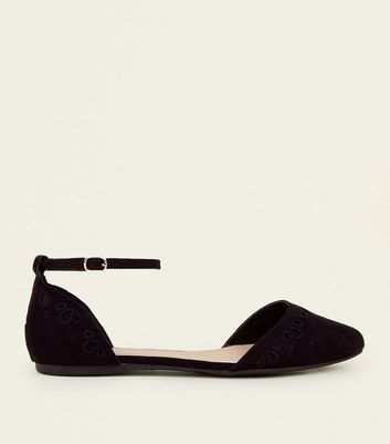 Wide Fit Black Suedette Cut Out Ankle Strap Pumps