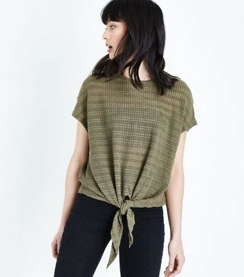 Olive Green Drop Stitch Tie Front Top