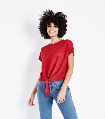 Red Drop Stitch Tie Front Top