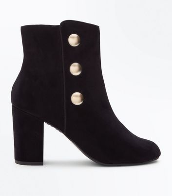 Wide Fit Black Suedette Button Side Heeled Boots