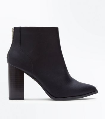 Wide Fit Black Pointed Block Heel Boots