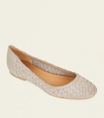 Grey Leather Woven Ballet Pumps
