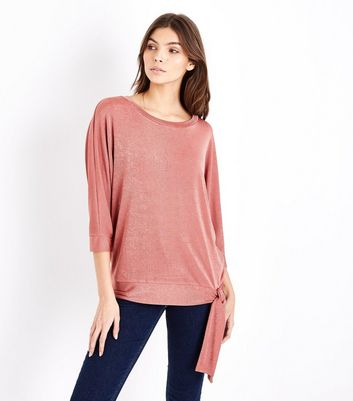 Deep Pink High Shine Tie Waist Top