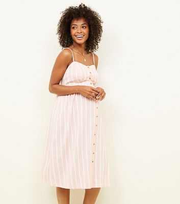 Maternity Pink Stripe Button Front Midi Dress