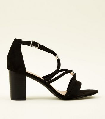 Black Suedette Linked Tube Strap Block Heels