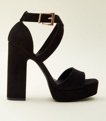 Black Suedette Square Toe Platform Heels by New Look