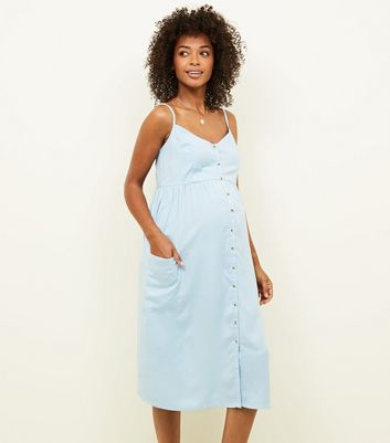 Maternity Pale Blue Button Front Midi Sundress