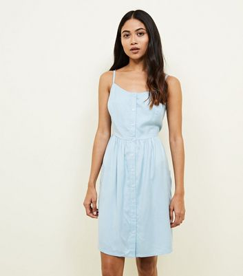 Petite Pale Blue Button Front Mini Sundress