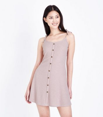 Petite Pale Pink Tie Shoulder Strap Skater Dress
