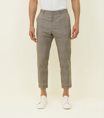 Stone Prince Of Wales Check Tapered Trousers