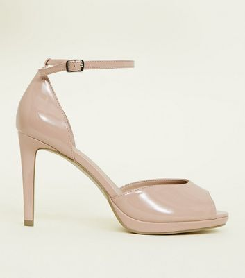 Wide Fit Nude Patent Peep Toe Stiletto Heels