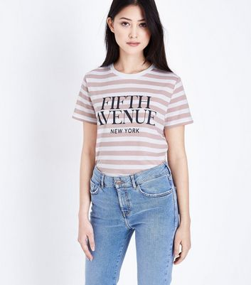 Petite White Stripe Fifth Avenue T-Shirt