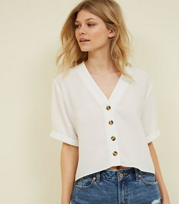 Petite Cream Button Front Boxy Shirt