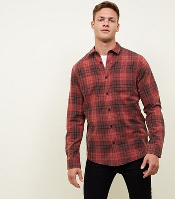 Red Washed Check Long Sleeve Shirt