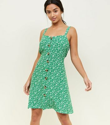 Petite Green Ditsy Floral Pinafore Dress