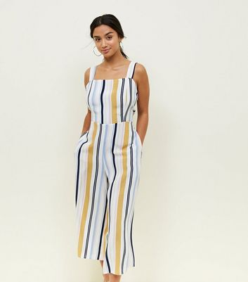Petite White Stripe Tie Back Jumpsuit