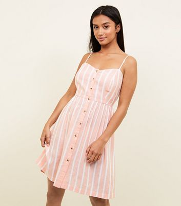 Petite Pink Woven Stripe Button Front Sundress