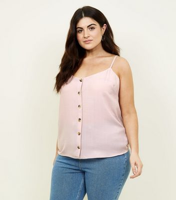 Curves Pale Pink Button Front Cami