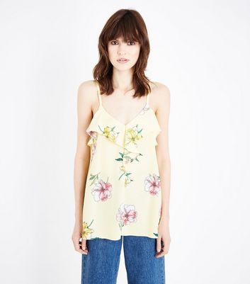 Yellow Floral Frill Trim Longline Cami
