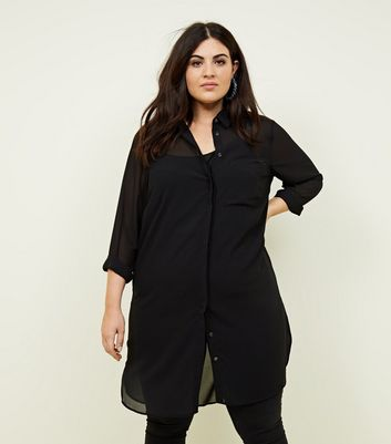 Curves Black Chiffon Longline Shirt