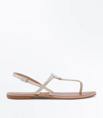 Cream Suede Diamanté Flat Sandals