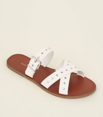 White Studded Cross Strap Mules