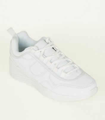 White Leather-Look Panelled Chunky Trainers