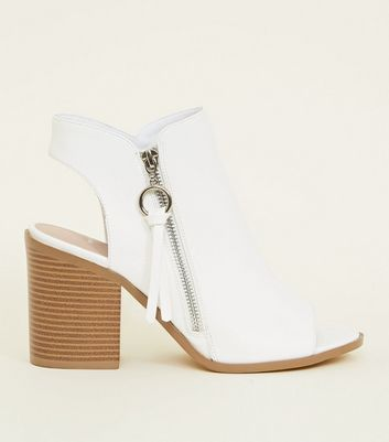 Wide Fit White Block Heel Open Toe Boots by New Look
