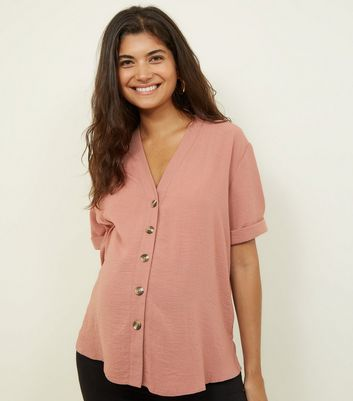 Maternity Mid Pink Button Front Boxy Shirt