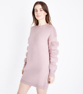 Cameo Rose Mid Pink Faux Fur Sleeve Patch Longline Jumper