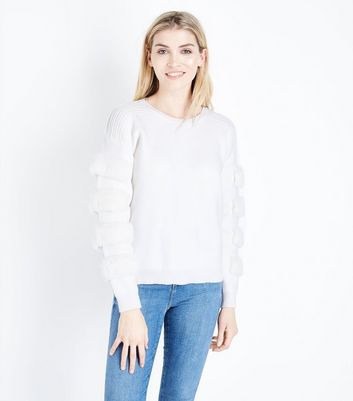 Cameo Rose Cream Faux Fur Patch Sleeve Jumper