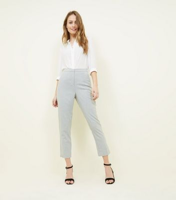 Pale Grey Marl Tapered Trousers by New Look